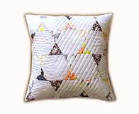 Úžitkový textil - Vankúš letný Triangle - sivo - oranžový - 6897805_