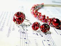 Náušnice - Red Passion / Puzetkové náušnice - 6897882_