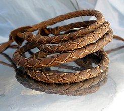 Šperky - kožený náramok na zaviazanie - hnedý - 6897309_