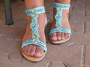 Obuv - Tyrkysovo zlaté sandálky...soutache - 6896429_