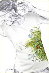 - Maľované tričko s kvetmi ľanu - Linum - 6896070_