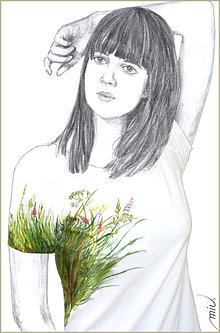 Tričká - Maľované tričko - Lúka - 6896093_