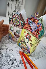 - Omaľovánky - 3D domčeky + ilustrácia  3ks  - 6897764_