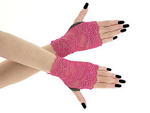 Iné doplnky - Dámské čipkové růžové rukavice 018B - 6901160_