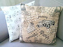 Úžitkový textil - Le BonBon pillows (Romantic Paris/Retro bicycles) - 6900000_