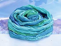 Šatky - Hodvábna šatka - modrá,zelená,tyrkysová - Bleu - 6899092_