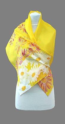 Šatky - Hodvábna šatka žltá s kvetmi - margarétky - Jaune - 6899063_