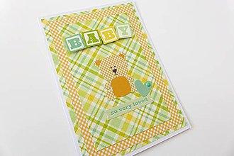 Papiernictvo - pohľadnica k narodeniu dieťatka - 6899082_