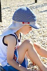Detské čiapky - Navy šiltovka s plachtičkou proti slnku - 6899060_