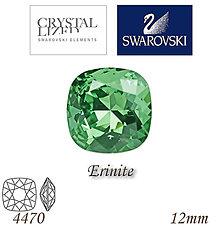 Korálky - SWAROVSKI® ELEMENTS 4470 Square Rhinestone - Erinite, 12mm, bal.1ks - 6900810_