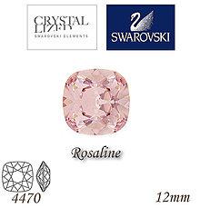 Korálky - SWAROVSKI® ELEMENTS 4470 Square Rhinestone - Rosaline, 12mm, bal.1ks - 6900827_
