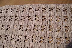 Úžitkový textil - Béžová háčkovaná dečka - 6901033_