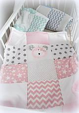 Textil - Deka Basic ružová s mackom 70x90cm - 6903321_