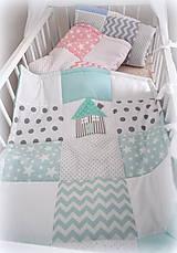 Textil - Deka Basic mentolová s domčekom 70x90cm - 6903444_