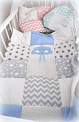 Textil - Deka Basic svetlomodrá s mráčikom 70x90cm - 6903453_