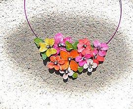 Náhrdelníky - náhrdelník, veselé kvety - 6901628_