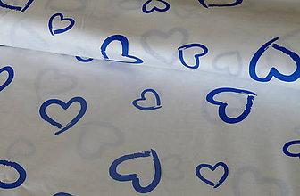 Textil - Látka Modré srdiečka - 6902879_