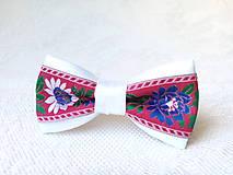 Ozdoby do vlasov - Mini Folklore hair clip (white/red) - 6904707_