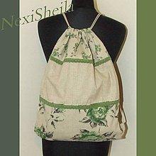 Batohy - Zeleno sivé ruže - batoh XL - 6905183_