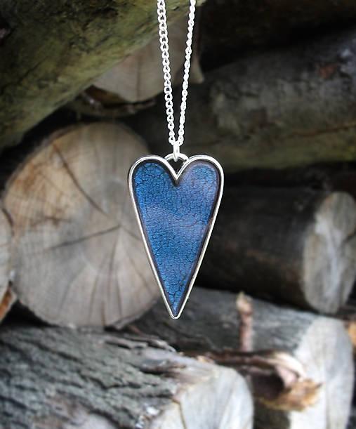 Modrý srdiečkový náhrdelník   Lostangela - SAShE.sk - Handmade ... 0b968d12266