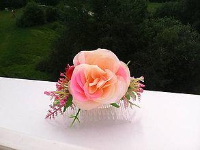 """Ozdoby do vlasov - Hrebienok do vlasov """"Ružičky v záhrade..."""" - 6903636_"""