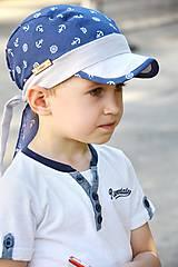 Detské čiapky - Letná pirátka denim kotvičky - 6905910_