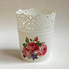 Nádoby - Kvetináč - Ružičky - 6905706_