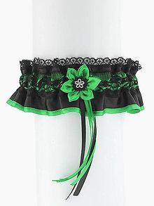 Iné doplnky - Podväzok čipkový zelený - čierný 0155D - 6907401_