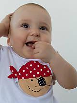 Detské oblečenie - body PIRÁT VENDELÍN s páskou (dlhý/krátky rukáv) - 6906150_