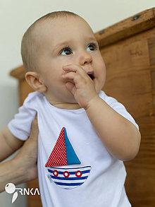 Detské oblečenie - body LODIČKA  (dlhý/krátky rukáv) - 6907137_
