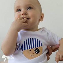 Detské oblečenie - body PIRÁT HUGOLÍN s páskou (dlhý/krátky rukáv) - 6907281_