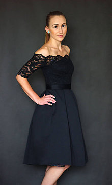 Šaty - Spoločenské šaty s holými ramenami a skladanou sukňou rôzne farby  - 6907507_