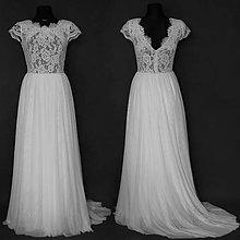 Šaty - Svadobné šaty s elastickým živôtikom a tylovou viacvrstvovou sukňou - 6907643_