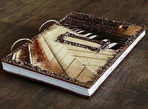 Papiernictvo - Hudobný zápisník,denník,diár,alebo svadobná kniha hostí-Klavír a noty - 6908506_