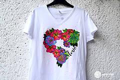Tričká - Vymaľuj ma! Kreatívne tričko FLOWER POWER - 6908935_