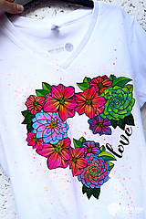 Tričká - Vymaľuj ma! Kreatívne tričko FLOWER POWER - 6908936_