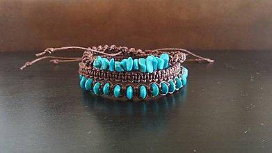 Šperky - pánsky náramkový set makramé tyrkysovohnedý - 6907537_