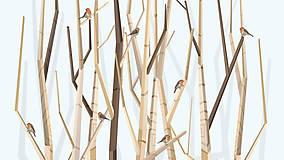 Obrazy - Veľký les a červienky - formát na výšku - 6906827_