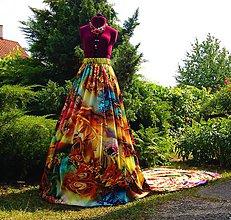 Sukne - Dlhá sukňa s vlečkou .. Dúhová fantázia - 6910061_