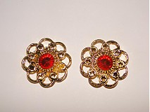 - Kvetinka 23mm-zlatá+červ-1ks - 1044728