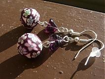 Náušnice - Fimo fialové kvietky - 1091708