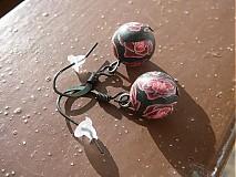 Náušnice - Čierne ružičkové - ZĽAVA - 1091759