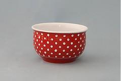 Nádoby - Miska na müsli, polévku puntík 12 červená - 1098558