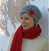 Čiapky - bledosivá čiapka so ♥ - 1118213