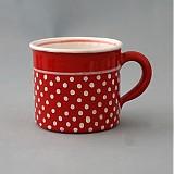 Kafáč 8 cm puntík - červený, cca 0,3 l