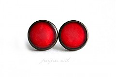 Náušnice - Pretty Red - napichovacie náušničky - 1156692