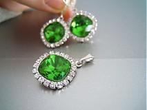 Sady šperkov - Smaragdové náušnice Ag925 súprava - 1171492