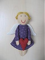 Dekorácie - anjelik vo fialovom - 117298