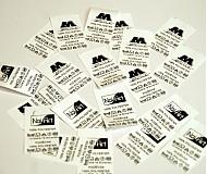 Materiál ručne robený - Textilná etiketa 5x3 cm sada 50 ks - 1199360
