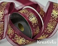 - Dekoračná stuha vianočná 40 mm - BORDOVÁ 2,5 m - 1206535